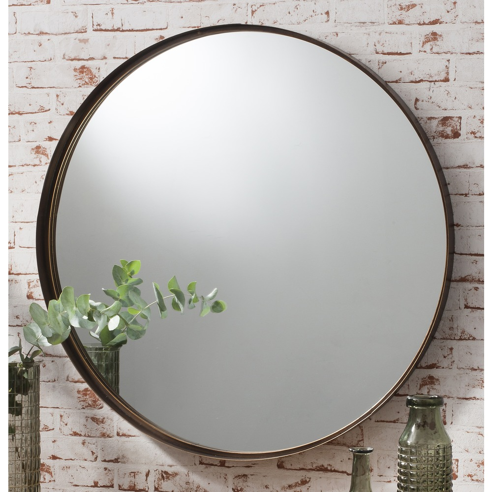 Round mirror greystoke bronze metal mirror select mirrors for Mirror o mirror