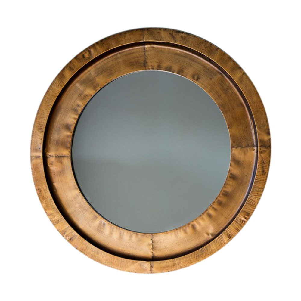 Metal mirror moorley round wall mirror select mirrors for Circle mirror