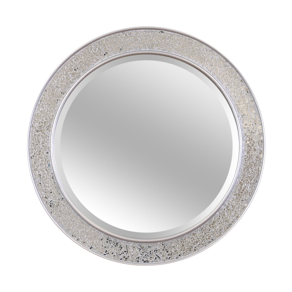 Buy shanghai crackle glass round mirror for Round mirror