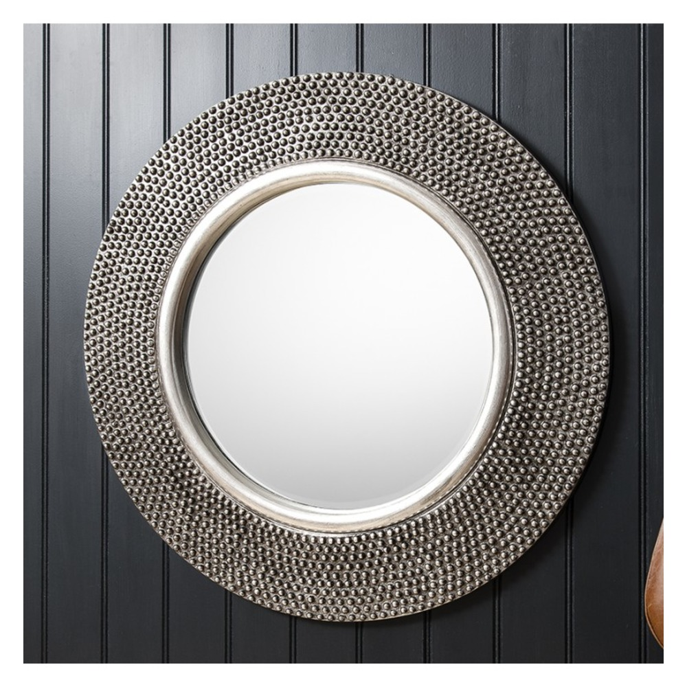 Circle mirror antique silver round mirror with concave for Round mirror