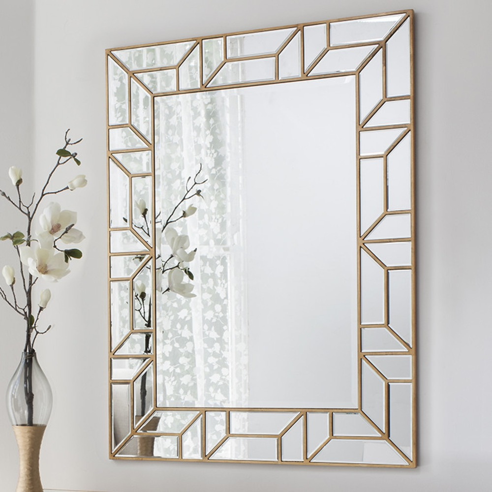 Wall Mirror Verbier Rectangle Gold Finish Select Mirrors