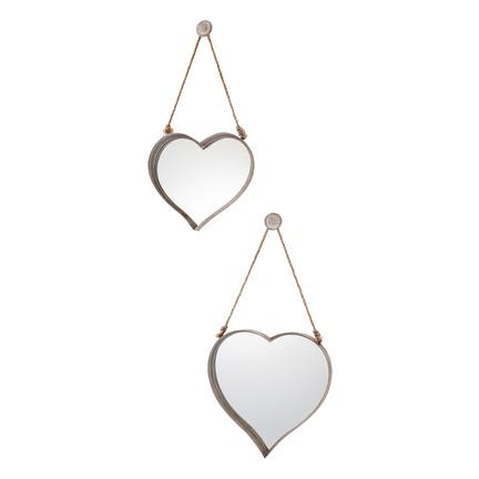 Metal Heart Mirror Rustic Set of 2