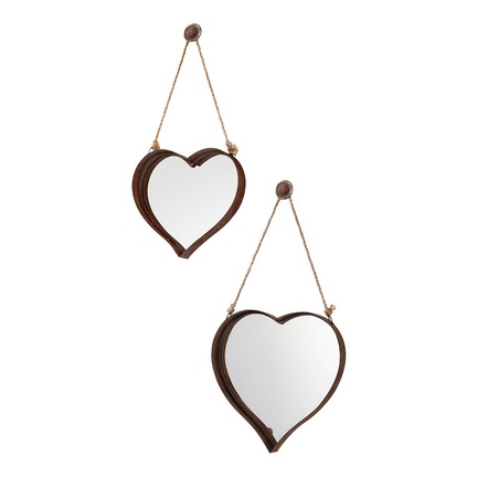 Metal Heart Mirror Rustic Set of 2