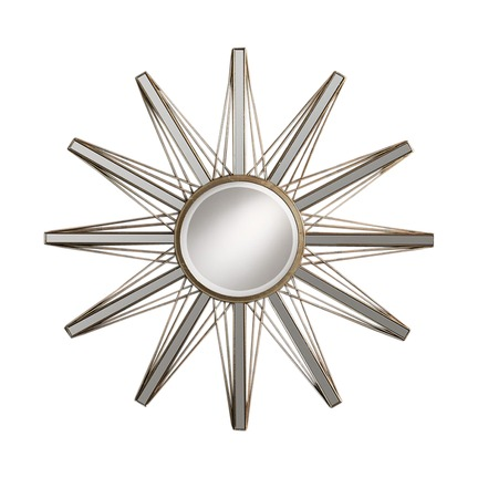 Flaire Starburst Mirror with Gold Finish